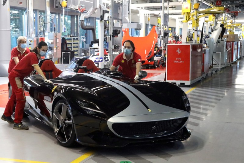 Ferrari's production lines rolling again