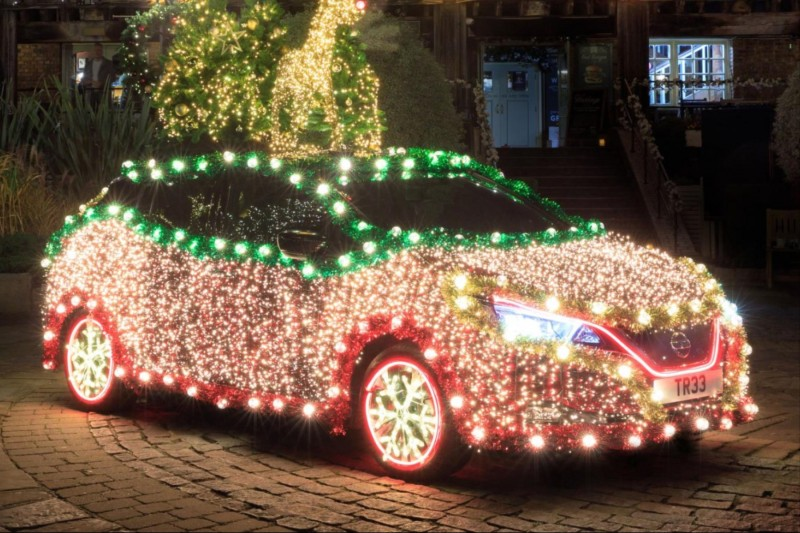 Let it glow: it's the Nissan LEAF Christmas tree