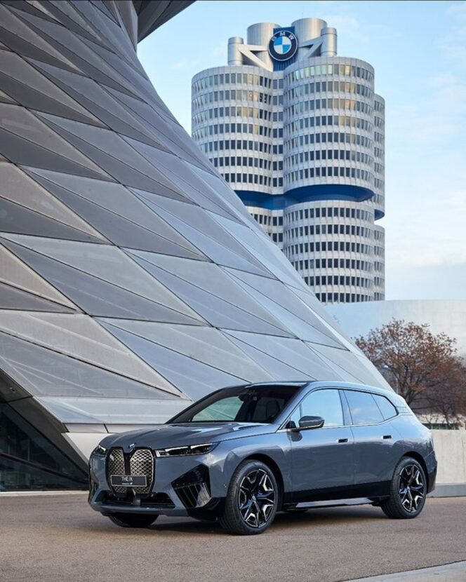 The new BMW iX proudly arrives at BMW Welt in Munich